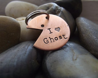 I Love Ghost Pet tag or Keychain, pac man tag