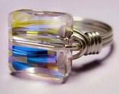 Sterling Silver and Swarovski Aurora Borealis Crystal Square Ring
