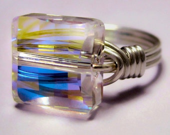 Sterling Silver and Swarovski Aurora Borealis Crystal Square Ring