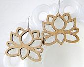 Big Lotus Earrings in Bamboo
