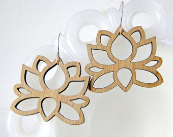 Big Lotus Earrings in Bamboo
