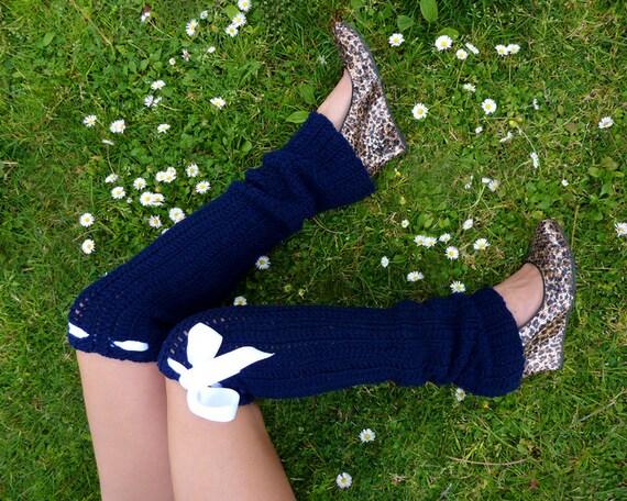 Leg Warmers - Thigh High Crochet Legwarmers - Navy Blue - Fall Fashion by Mademoiselle Mermaid