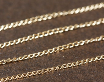 Gold Filled Chain by the Foot -  Fine Curb Chain 1.1mm - Select Lengths to 4 Feet