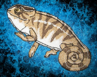Rustic Tan Panther Chameleon Iron on Patch