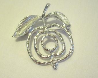 Vintage Brooch Signed Sarah Coventry Silver Apple Spiral