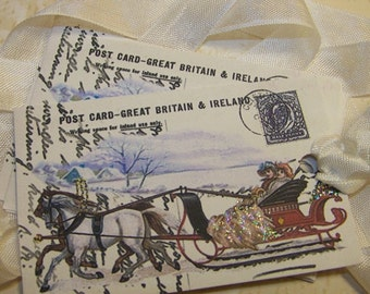 Christmas Tags - Horse and Sleigh - Vintage Style - Set of 6