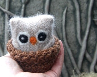 Adopt a Baby Owl ... angora eco wool felt owl nest choose one (1) Chai, Vanilla or Heather (woolcrazy)