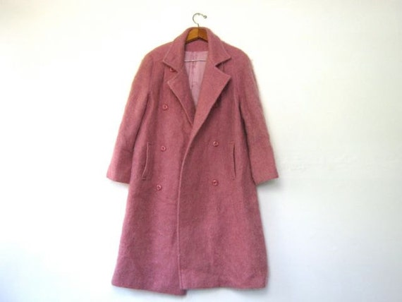 vintage pink mohair winter coat / double breasted IRELAND coat