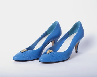 1980s Brilliant Blue Leather Heels by Flings Size 8.5