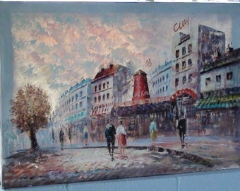"Impressionist Painting of the famous Theme by French Art Signed Cuny 24"" X 36"" Paris Street Oil on Canvas"