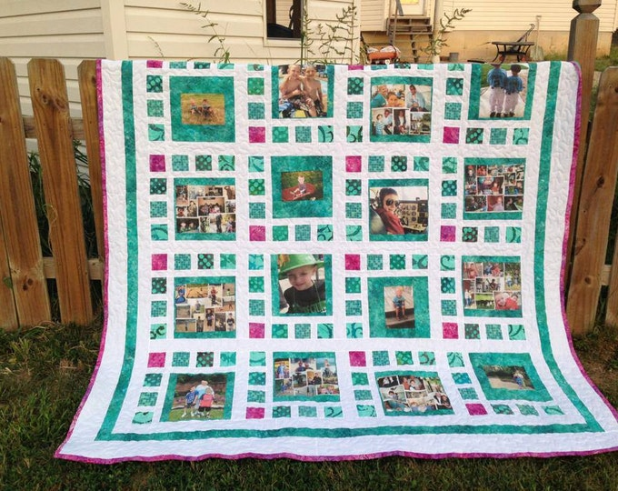 Photo Memory Quilt - Twin / Full Size - price includes 16 5x7 photos printed on fabric and all supplies - custom made pick your own colors