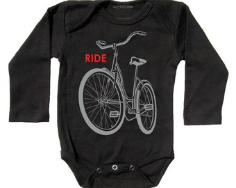 Ride a Bike Infant bodysuit, light reflective Black long sleeve, long sleeve, all baby sizes, perfect baby boy gift, retro bicycle design.