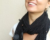 Black Fishnet Cotton Scarf Leaves And Wood Bead Fabric Leaves
