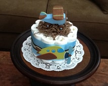 Airplane Diaper Cake Baby shower centerpiece Bundt cake or gift other sizes and colors too Zoom Zroom