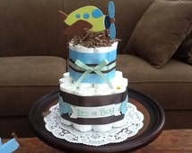 Airplane Diaper Cake Two Tier baby shower centerpiece or gift other sizes and colors too Zoom Zroom