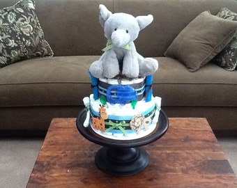 Elephant Diaper Cake Jungle Theme Baby Shower Centerpiece or gift other colors and sizes available