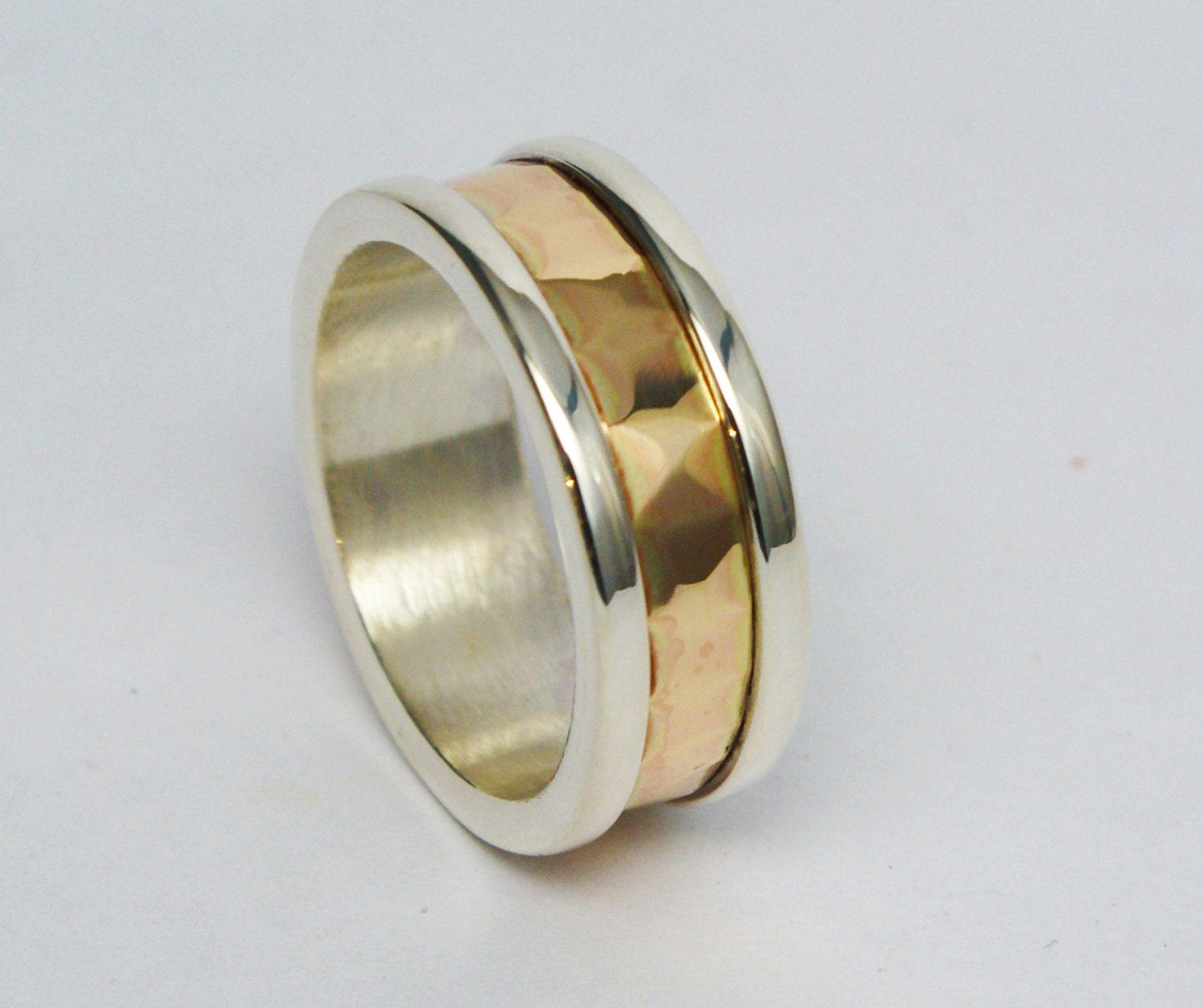 silver and gold hammered s wedding band