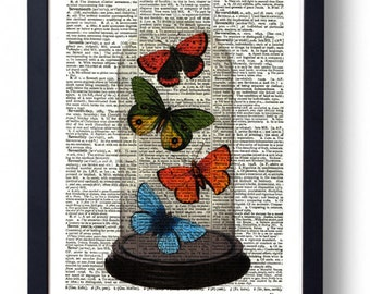 Original Art Print on A Vintage Dictionary Book Page /  Butterflys in a Bell Jar / Kitch