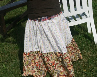 breezy multi-colored patchwork tiered skirt . . .