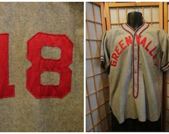 50s wool baseball uniform shirt mens size large FREE Domestic Shipping