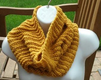 Hand Crochet Cowl - The Garter Cowl in Goldenrod