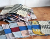 Stack of 62 Antique Hand Sewn Fabric Quilt Squares