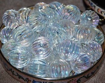 Vintage Lot of 10 AB Corrugated Crystal Clear 16MM Beads P2R