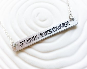Personalized Bar Necklace - Hand Stamped Matisse Quote Necklace - ID Bar - Customized Text - Dainty Bar Necklace