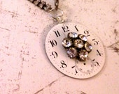 Antique Vintage Pocket Watch Enamel Face Steampunk Necklace Rhinestones, Starry Night, FREE SHIPPING