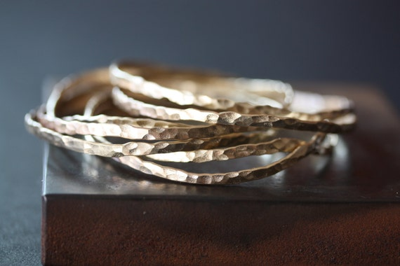 Hammered 14kt Yellow Gold Stacking Bangle-  as seen on E News & Sports Illustrated Swimsuit
