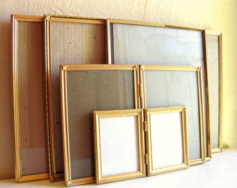 Set of Unique Vintage Orange Gold Metal Picture Frames 8x10 5x7 and 3x4 Bifolds