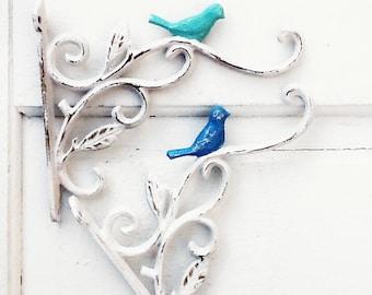 Cast Iron Bird Plant Hangers,  SALE, French Garden Decor, Aqua Decor, Mint Green, Plant Hook