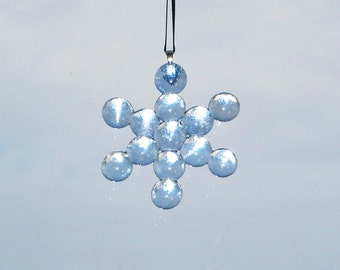 Fused Ice Blue Glass Snowflake Ornament  -  FREE Shipping in the USA