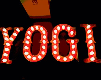 Ice Cream YOGI Extra Large Outdoor Vintage Marquee Art   EDISON Bulbs