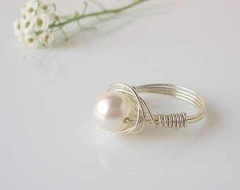 Wire Wrapped Sterling Silver and Pearl Ring