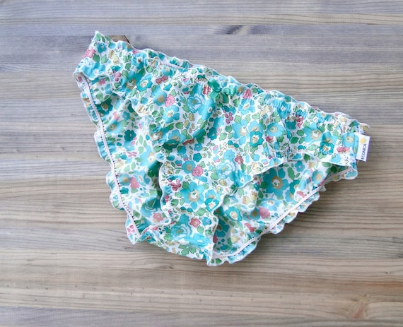 Floral cotton panties - low risejade green and pastel floral knickers - custom made romantic cotton lingerie