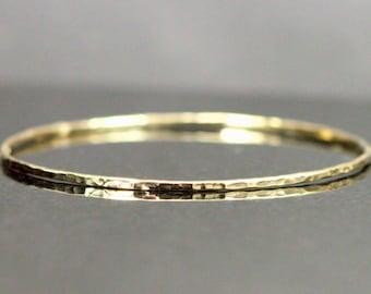14k Gold Bangle Bracelet - 2mm Hammered Gold Bangle, Choose Yellow or Rose Gold