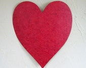 Art sculpture Valentines heart upcycled metal wall hanging deep red textured 11 x 12  inch