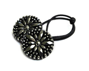 Silver Starburst  Ponytail Holder, Art Deco Style Vintage Glass Buttons Hair Accessory, Black and Silver Pressed Glass Ponytail Ties