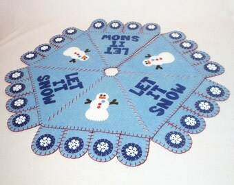 """23.5"""" Hand Sewn Penny Rug Style """"Let It Snow"""" Christmas Tree Skirt"""