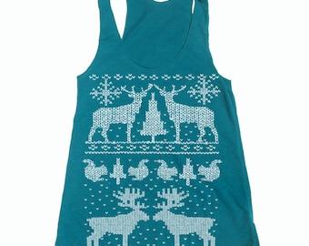 Womens CHRISTMAS Sweater Print  american apparel Tri-Blend Racerback Tank Top S M L (8 Color Options)
