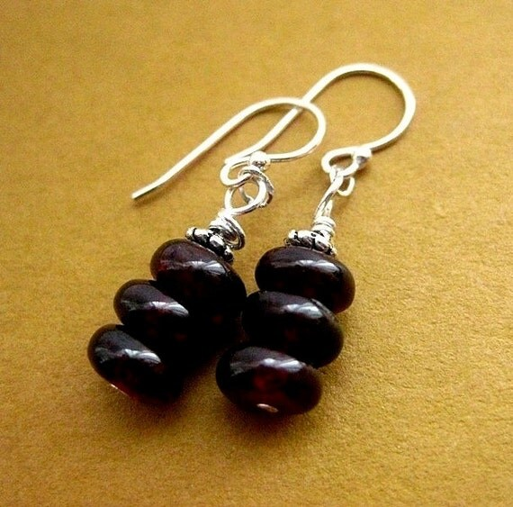 Red Garnet Earrings. Sterling Silver.  January Birthstone. Ruby Berries