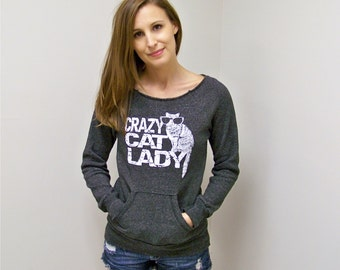 Cat sweater, crazy cat lady, mom gift, cat shirt, funny sweatshirt, off the shoulder, cozy sweatshirt, womens sweatshirt, gift for wife