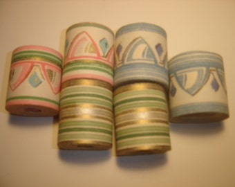 Antique Vintage Lovely 1930s 1950s Tiny Wall Border Wall Paper Pink Green Blue