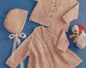 "PDF Knitting Pattern Baby Matinee Coat and Cardigan Sizes 18-29""  (BA346)"