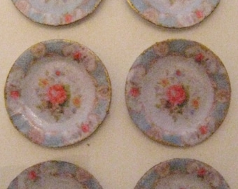 Dollhouse Plates, card , pale blue edge with  posy, duck egg blue plates,  hand finished, twelfth scale dollhouse accessory