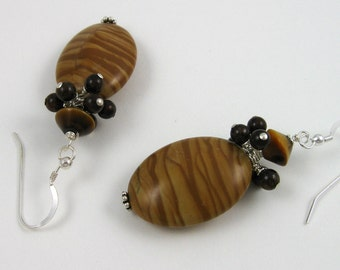 Chocolate Caramel Earrings, brown gemstone bead dangles & clusters, sterling silver wires