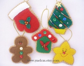 Christmas Ornaments Tree Ornaments Cookies Felt Christmas Ornaments Felt Christmas cookies tree decoration