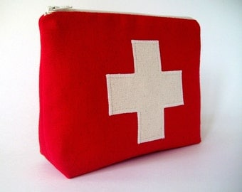 Red First aid kit medicine pouch