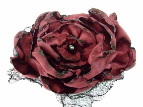 Wedding Hair Flower, Red Wine Satin Flower Accessory, Burgandy Flower, Fall Wedding Hair Flower, Bridal Sash, Maternity Sash, Fascinator